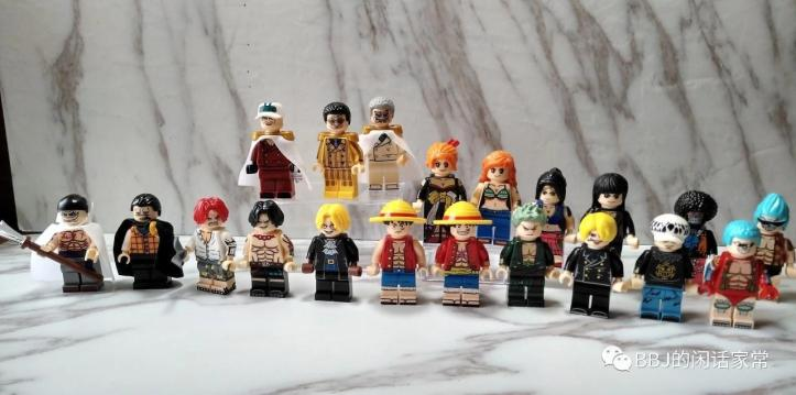 LEGO One Piece Anime Minifigure. KORUIT XP036-041,  KT1008. Borsalino, Nami in Kimono, Nico Robin, Crocodile, Roronoa ZoroSanji, Frank, Luffy, Sakazuki aka Akainu, Edward Newgate and Monkey D. Garp. KT1013: Nico Robin, Franky, Trafalgar D. Water Law, Sabo, Shanks, Nami, Portgas D. Ace and Brook